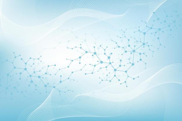 Background molecolare scientifico per medicina, scienza, tecnologia, chimica. le onde scorrono. carta da parati o striscione con molecole di dna. illustrazione dinamica geometrica di vettore.
