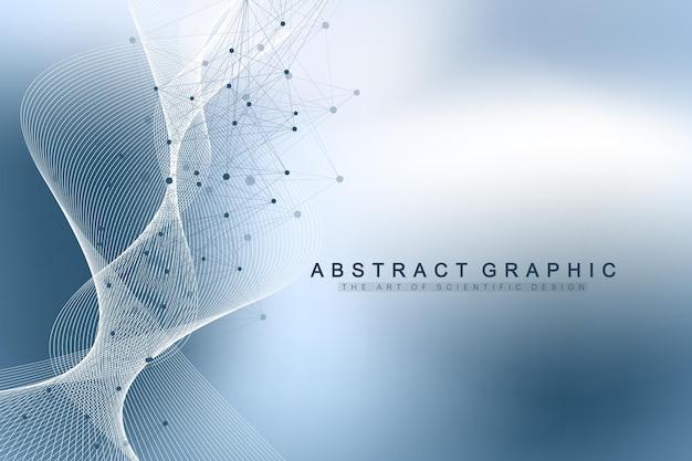 Illustrazione scientifica vettoriale ingegneria genetica e concetto di manipolazione genica. elica del dna, filamento di dna, molecola o atomo, neuroni. struttura astratta per la scienza o lo sfondo medico. flusso dell'onda.