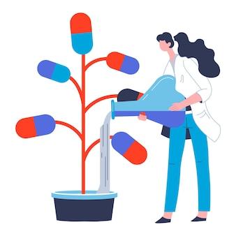 Scienziato che si occupa della produzione di pillole contro malattie e malattie. donna con acqua o sostanza per capsule, esperimento di laboratorio e vettore di produzione farmacologica in stile piatto
