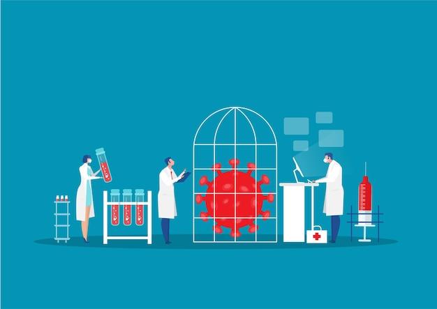 Infezione di ricerca del carattere dello scienziato all'illustrazione piana del laboratorio