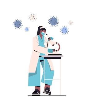 Scienziato che sviluppa un nuovo vaccino contro il coronavirus in laboratorio ricercatrice che lavora allo sviluppo di vaccini per microscopio lotta contro l'illustrazione del concetto di covid-19