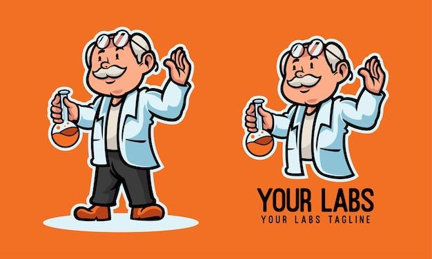 Uno scienziato che tiene un logo della mascotte della provetta