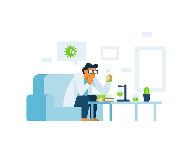 Uno scienziato sta facendo il concetto di illustrazione di ricerca a casa