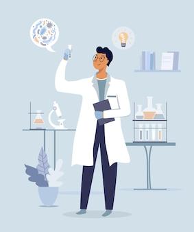 Scienziato in laboratorio. esperimento scientifico in laboratorio medico. illustrazione vettoriale