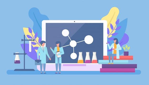 Scienziato in laboratorio, ricerca scientifica chimica con la mini gente degli scienziati e formule chimiche sull'illustrazione piana enorme dello schermo e dei libri del computer.