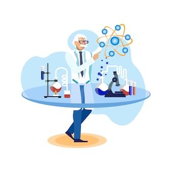 Scienziato nell'illustrazione di vettore piano del laboratorio