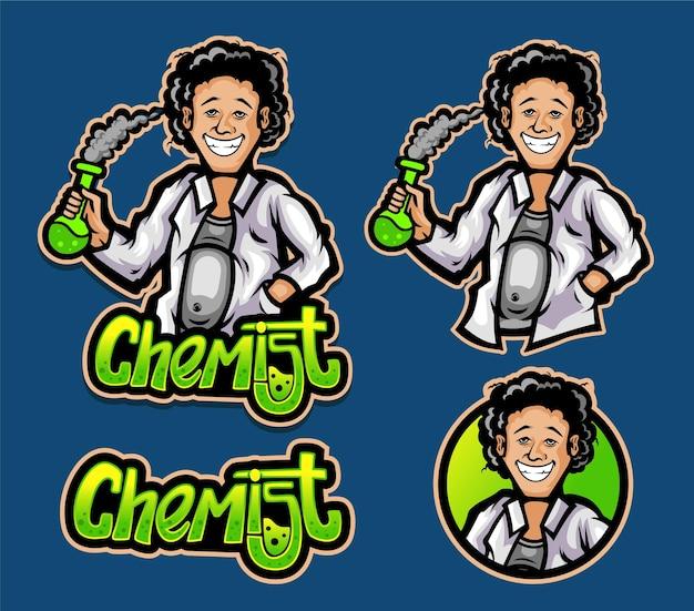 Vettore premium della mascotte del logo dello scienziato