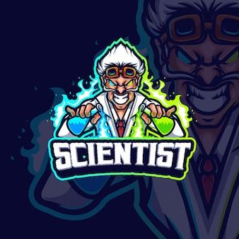 Disegno del logo del gioco esport mascotte scienziato