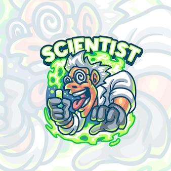 Modello logo mascotte scienziato