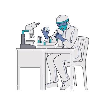 Microbiologo scienziato in costume protettivo lavora in laboratorio, schizzo isolato su priorità bassa bianca. ricerca sul vaccino covid-19 o coronavirus.