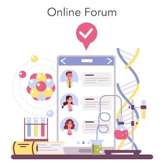 Servizio online di scienziato o illustrazione della piattaforma