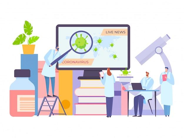 Scienziato che guarda le notizie in diretta del coronavirus sull'illustrazione dello schermo di computer. il medico scopre le ultime informazioni sulla nuova malattia