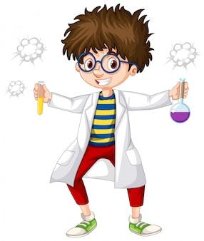 Scienziato con due provette in mano