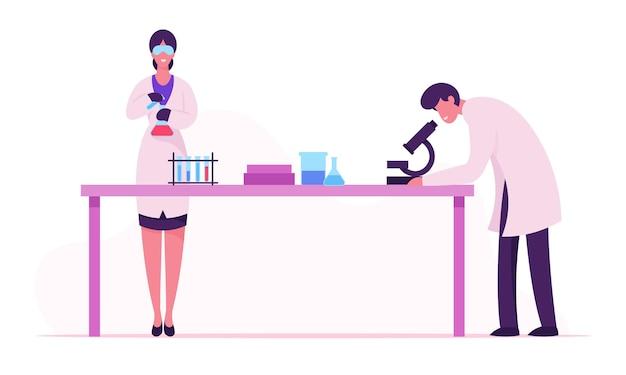 Scienziati che conducono esperimenti e ricerche scientifiche nel laboratorio di scienze, fumetto illustrazione piatta