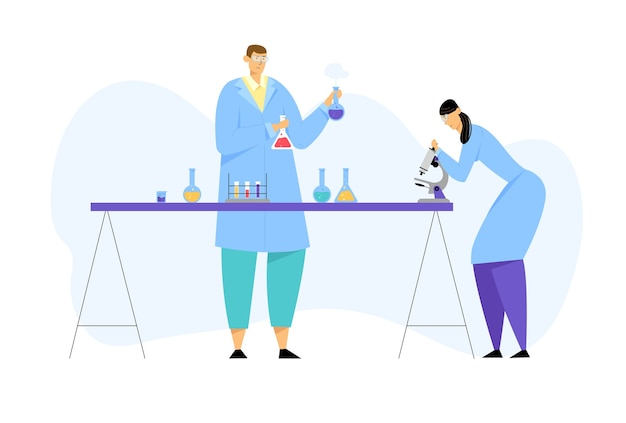 Scienziati che conducono esperimenti e ricerche scientifiche nel laboratorio di scienze