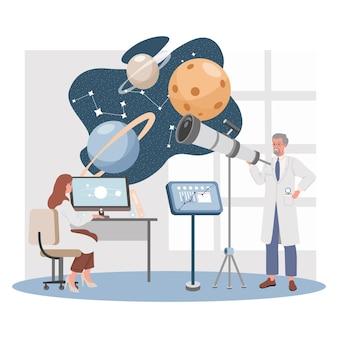 Scienziati che esplorano lo spazio con computer e telescopio