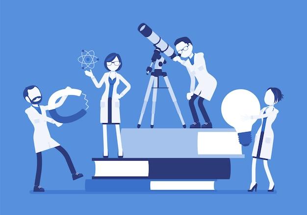 Gli scienziati raggruppano ricerche con strumenti, vicino a libri giganti. esperti maschi, femmine di laboratorio fisico o naturale in camice bianco. concetto di scienza ed educazione. illustrazione, personaggi senza volto