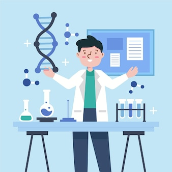 Scienziati in possesso di molecole di dna
