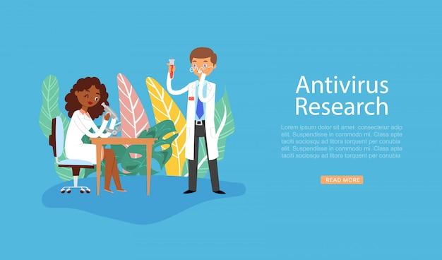 Gli scienziati ricercano il vaccino antivirus del coronavirus, sperimentano in laboratorio, lavorando nell'illustrazione scientifica di ricerca del laboratorio chimico.