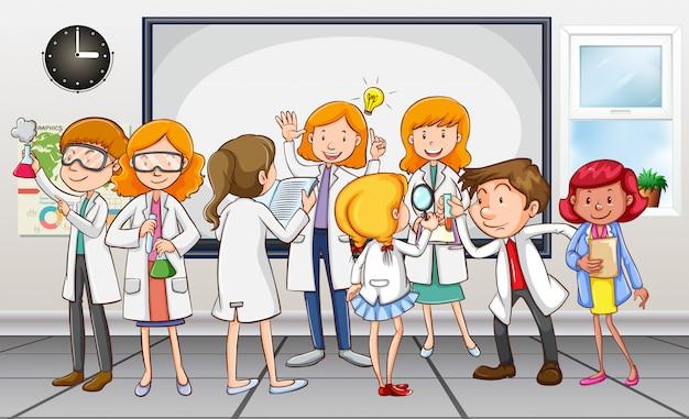 Scienziati e insegnanti in classe