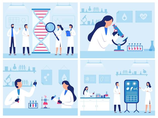 Gli scienziati lavorano in laboratorio. laboratorio di ricerca genetica professionale, ricerca sui virus e sul sangue. insieme dell'illustrazione di diagnostica della qualità dell'acqua.