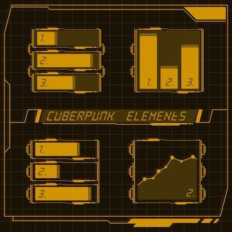 Scifi futuristico pannello di controllo collezione di elementi hud gui vr ui design cyberpunk stile retrò