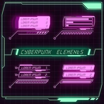 Collezione di pannelli futuristici scifi di elementi hud gui vr ui design cyberpunk neon glow retro style