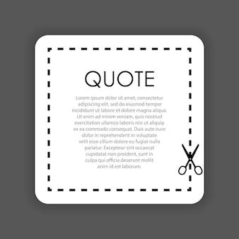 Bolla di citazione di taglio a forbice su sfondo nero. illustrazione vettoriale.