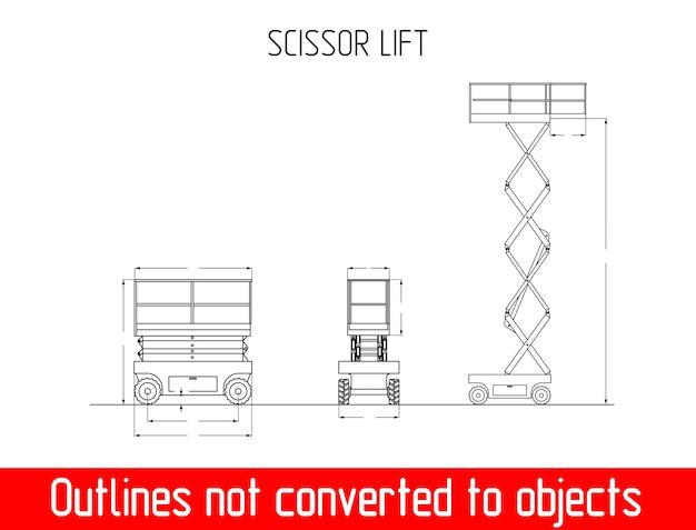 Dimensione del vettore del modello di sollevamento a forbice e dimensioni altezza e larghezza