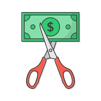 Forbici che tagliano i soldi.