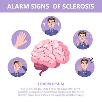 Sintomi e segni di sclerosi. malattia del danno cerebrale