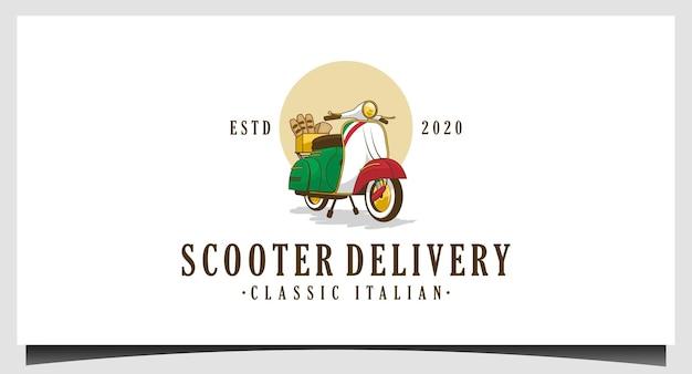 Design del logo di consegna classico dello scooter