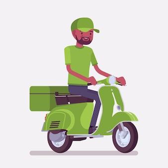 Ragazzo nero consegna scooter