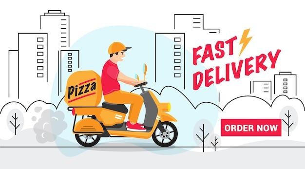 Uomo di consegna scooter in città.
