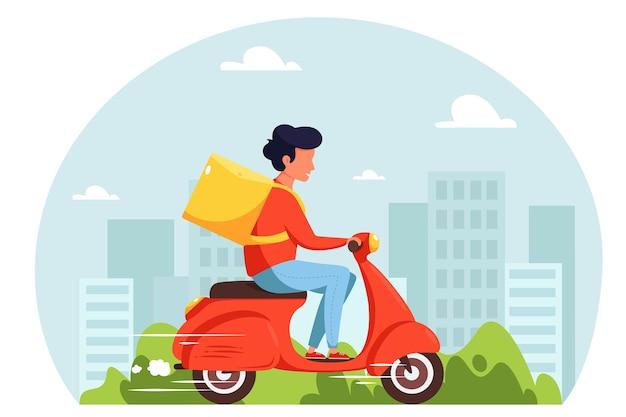 Concetto di servizio di consegna scooter, corriere in sella a scooter con scatola di consegna. in stile piatto.