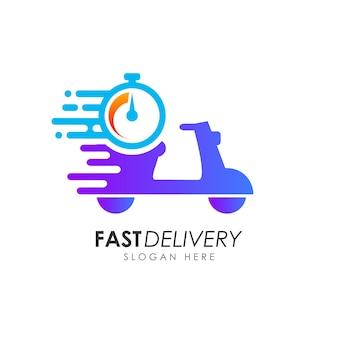 Design del logo di consegna veloce scooter. modello di progettazione logo corriere