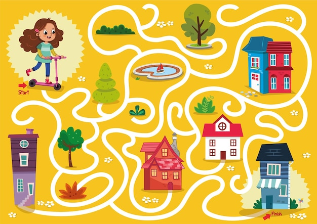 Gioco del labirinto della ragazza del motorino nell'illustrazione di vettore di tema urbano