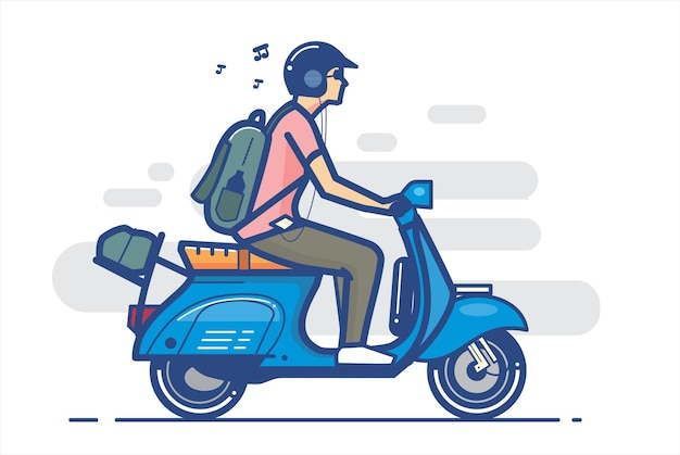 Ragazzo scooter con logo in stile line art, illustrazione vettoriale