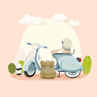 Illustrazione di scooter in mano disegnata