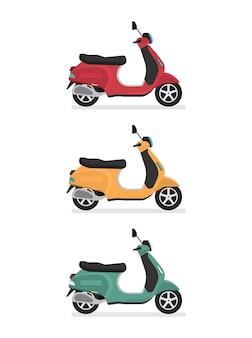 Moto scooter. vista laterale, profilo. stile cartone animato piatto