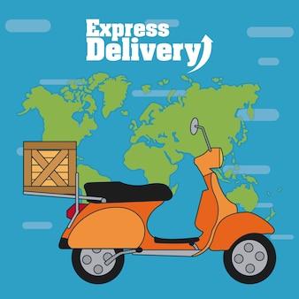 Motorino con la scatola sopra progettazione grafica dell'illustrazione di vettore della mappa di mondo