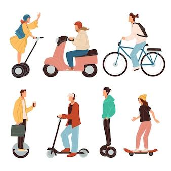 Scooter e biciclette, giroscopi e skating, trasporto ecologico elettrico in città