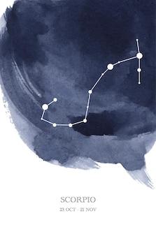 Illustrazione dell'acquerello di astrologia della costellazione dello scorpione. simbolo dell'oroscopo dello scorpione fatto di scintillii e linee di stelle.