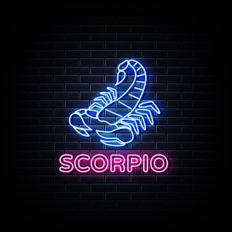 Insegna al neon oroscopo scorpione, stile neon