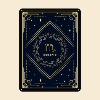 Scorpione segni zodiacali carte oroscopo costellazione stelle carta decorativa con cornice decorativa