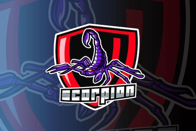 Modello di logo della squadra di e-sport scorpion