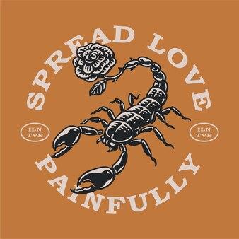 Logo vintage del fiore dello scorpione