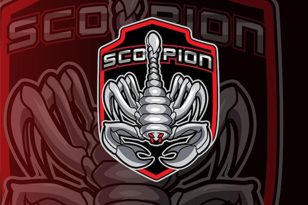 Logo della mascotte della squadra di e-sport scorpion gaming
