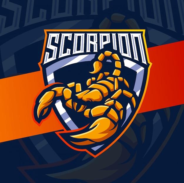 Mascotte di scorpione esport logo design