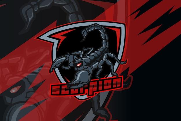 Scorpione per logo sportivo ed esports isolato su sfondo scuro